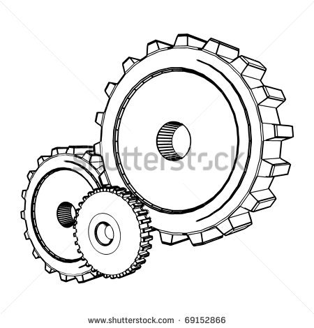 450x470 Cogs And Gears Drawing