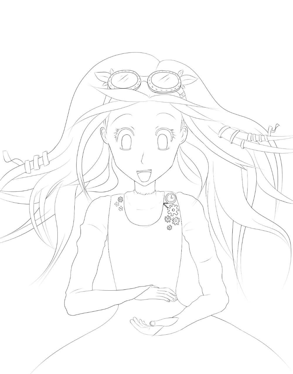 1000x1274 Steampunk Girl Lineart On Paint Tool Sai Cricket's Drawings
