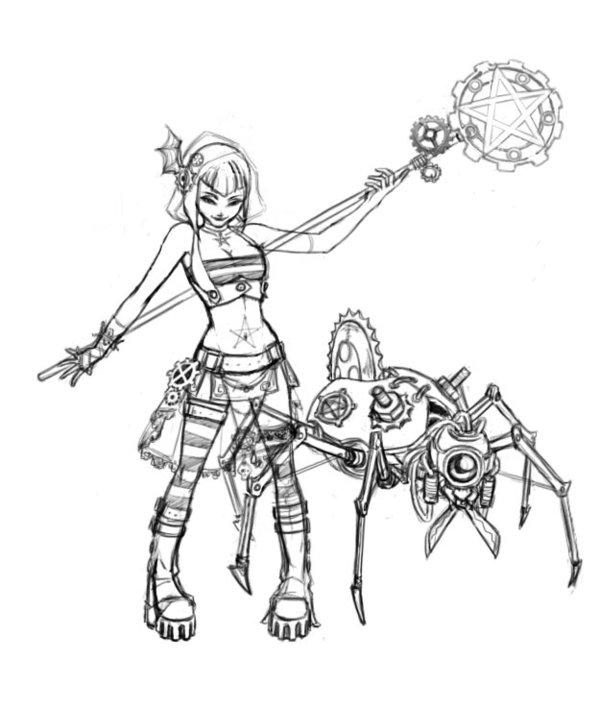 600x708 Steampunk Witch Girl Sketch By 3nok Steampunk