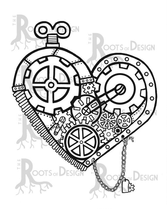 Steampunk Heart Drawing