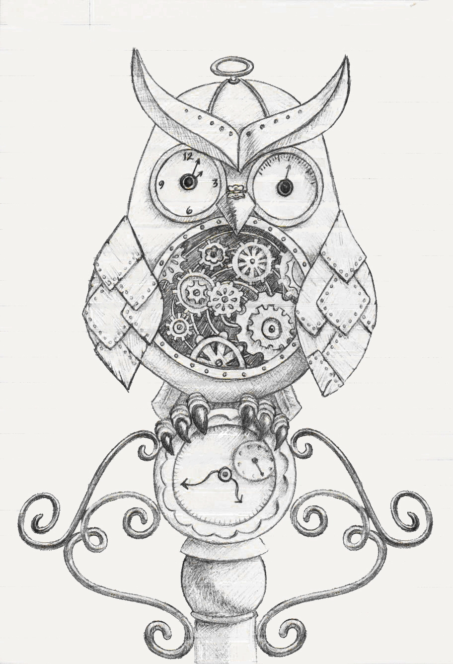 912x1336 To Create Or Not To Create That Is The Question. Steampunk Owl