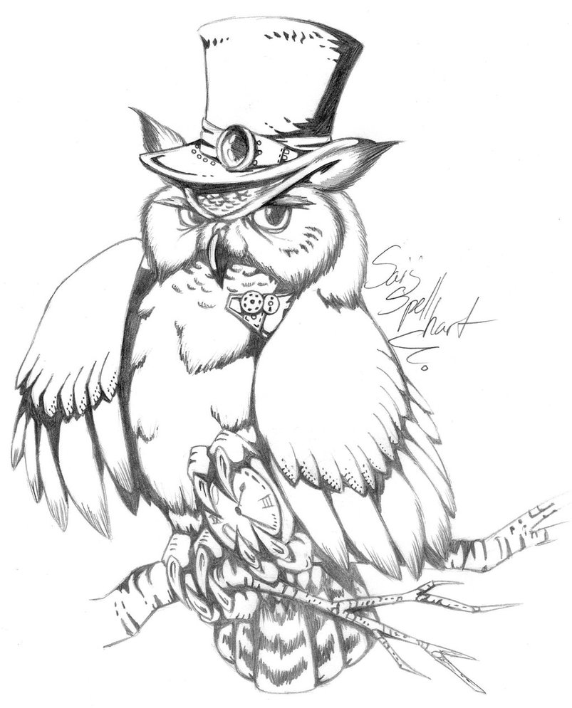 Steampunk Owl Drawing At Getdrawings