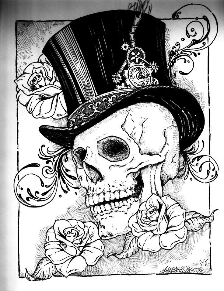 Steampunk Skull Drawing