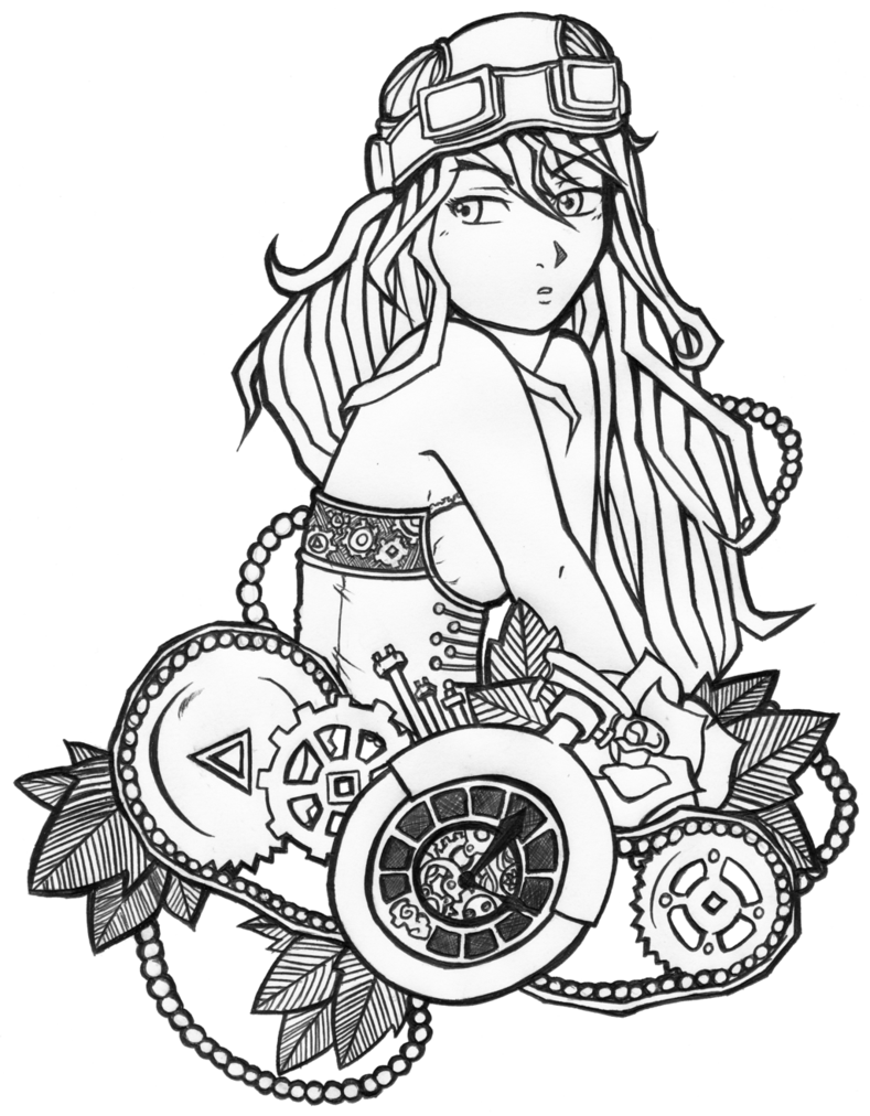 789x1012 Steampunk Lineart By Nukedemise Steampunk