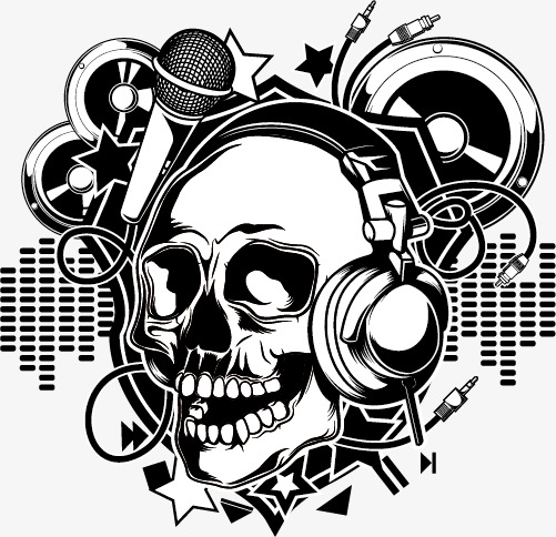 501x484 Steampunk Skull Listening To Music, Punk, Punk Material, Rock Png