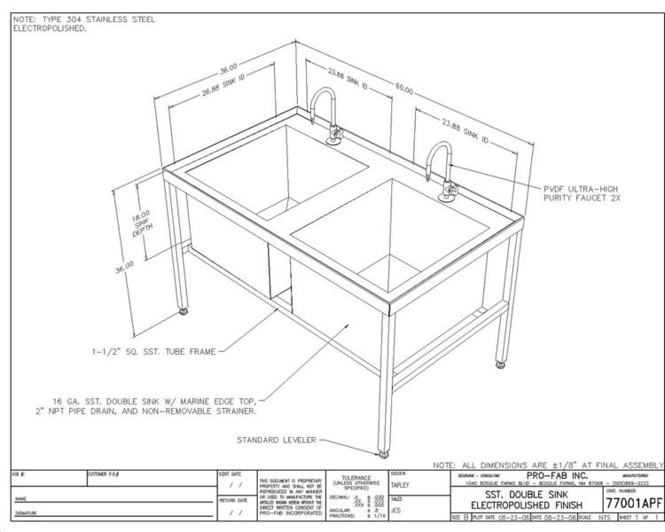 750x600 Custom Design Stainless Steel Sink Fabrication