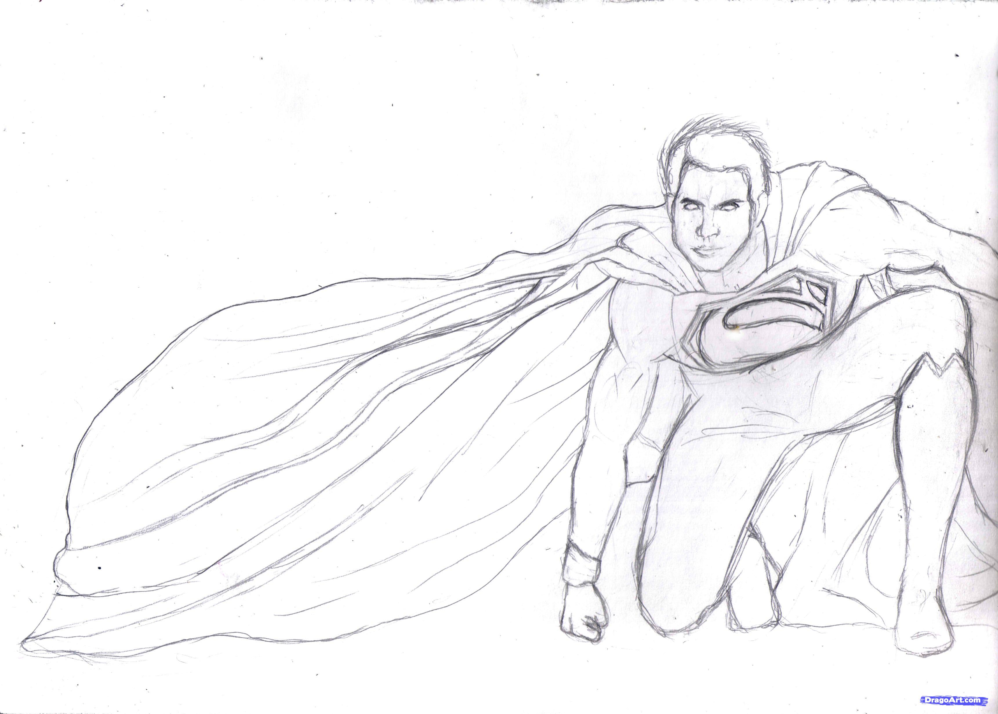 3442x2462 How To Draw Man Of Steel Learn To Sketch Sketches