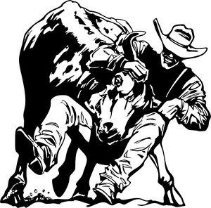 300x296 Steer Wrestling Decal Western Rodeo 02, Vinyl Rodeo Trailer