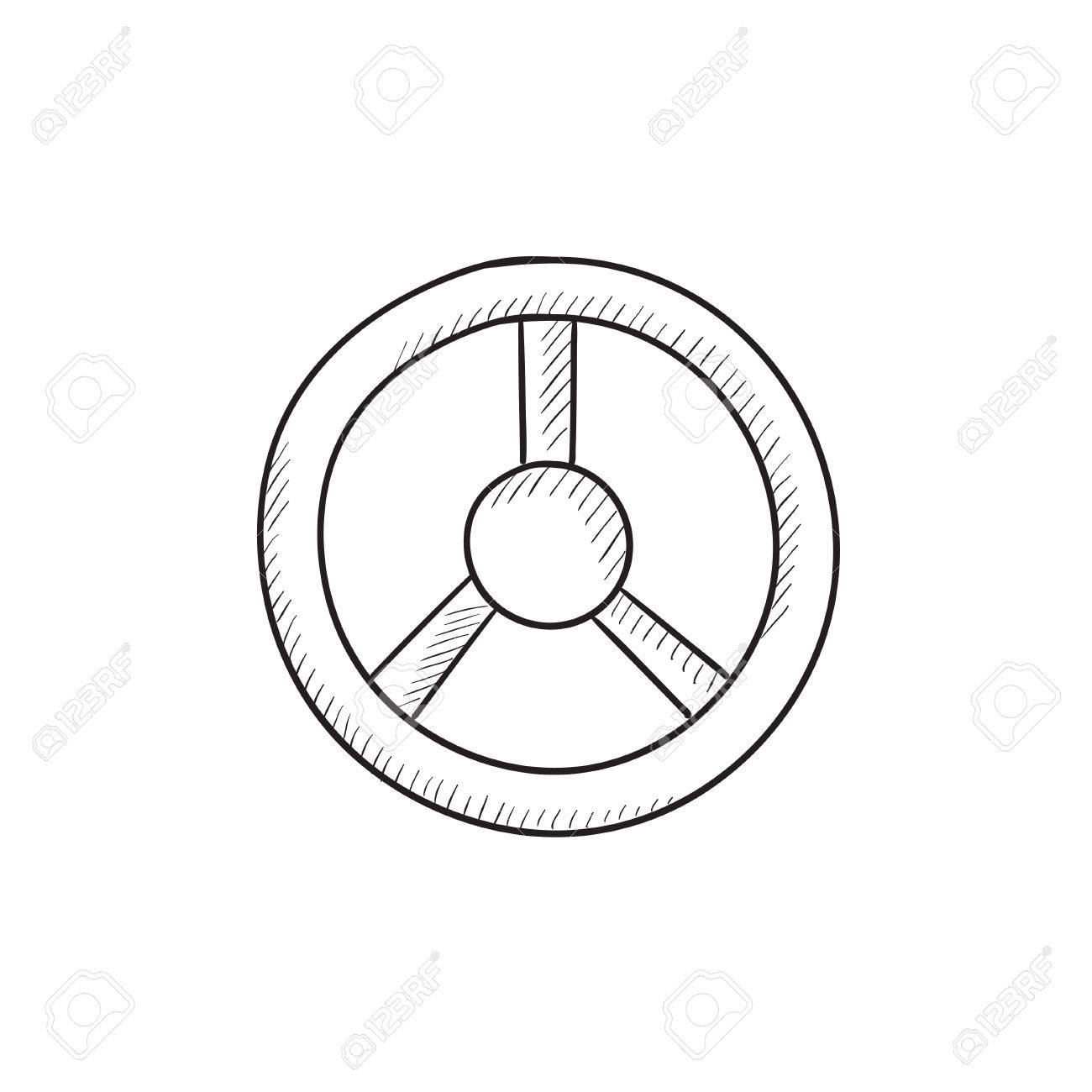 1300x1300 Steering Wheel Vector Sketch Icon Isolated On Background. Hand