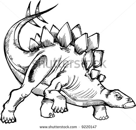 450x429 Stegosaurus Dinosaur Sketch Vector Illustration