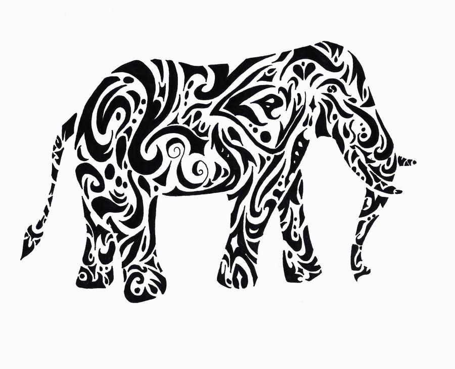 900x729 Black Tribal Elephant Tattoo Stencil By Annie
