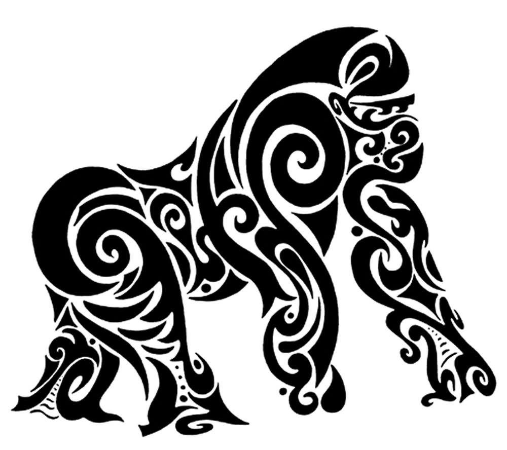 1000x888 Black Tribal Gorilla Tattoo Stencil Gorilla