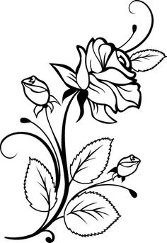 236x343 Two Roses Outline Rose Flowers Wall Stickers Wall Art Decal