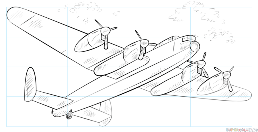 900x462 How To Draw A Lancaster Bomber Step By Step Drawing Tutorials