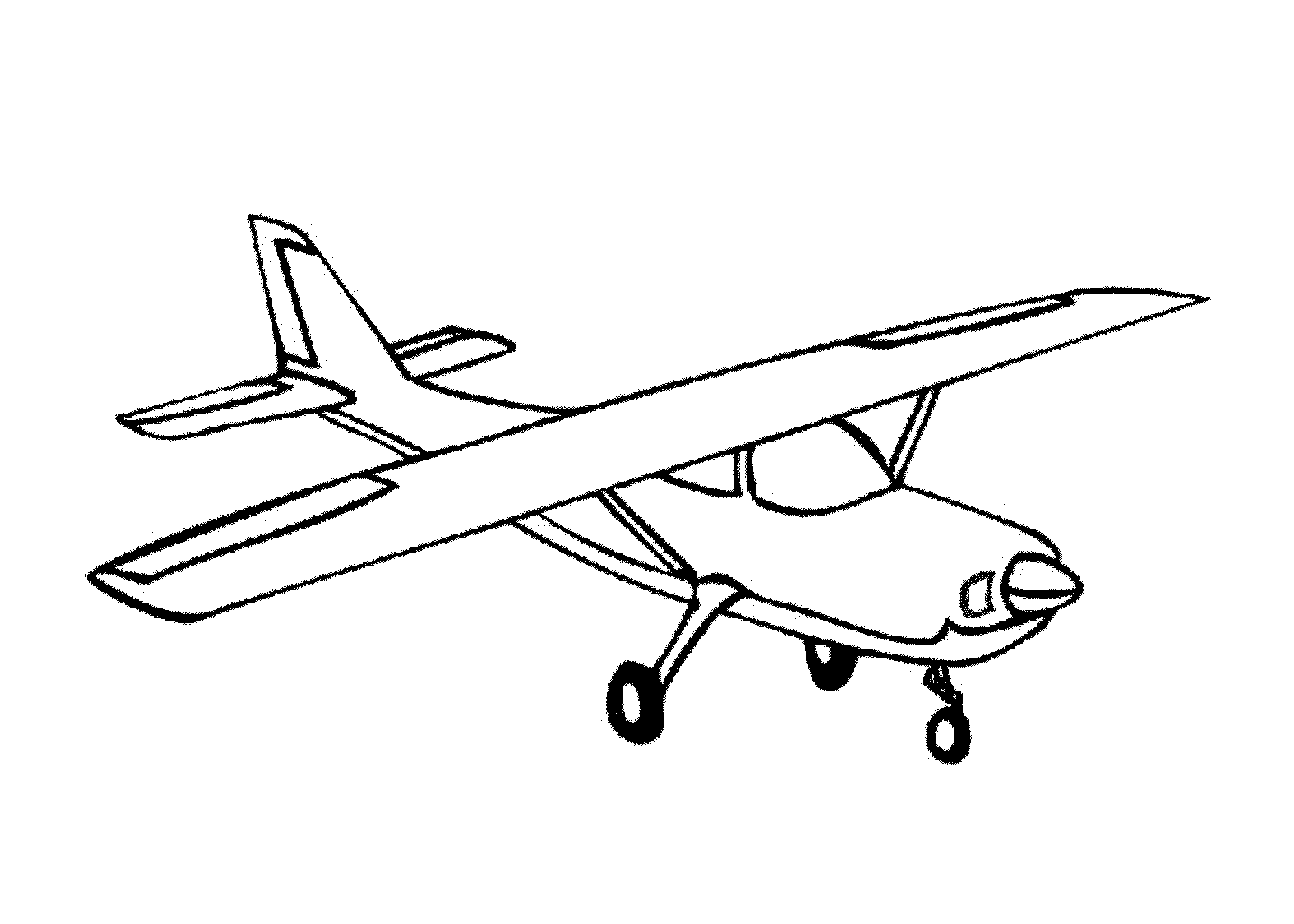 2000x1429 Simple Airplane Coloring Pages