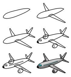 236x256 Airplane Line Drawing