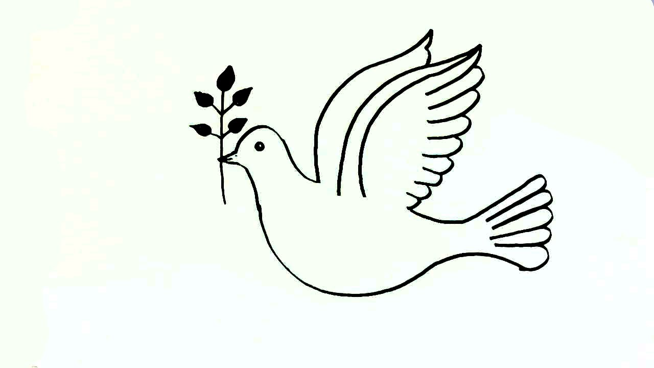 1280x720 How To Draw A Peace Dove In Easy Steps For Children. Beginners