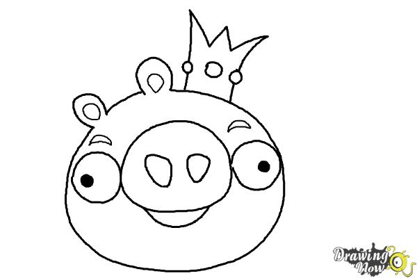 600x400 How To Draw Angry Birds Pig, King Pig