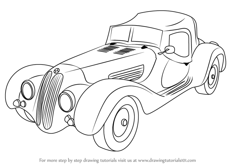 800x566 Learn How To Draw Vintage Bmw Roadster (Vintage) Step By Step