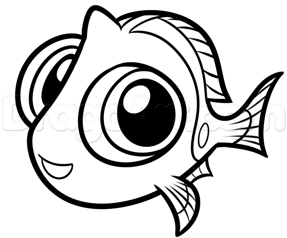 967x804 How To Draw Baby Dory, Step By Step, Disney Characters, Cartoons