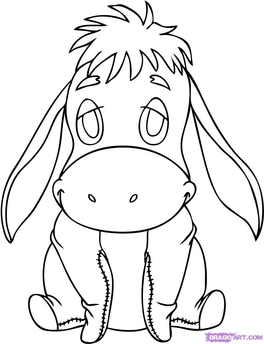 885x1153 Cartoon Drawing Of A Baby How To Draw Baby Eeyore, Step By Step