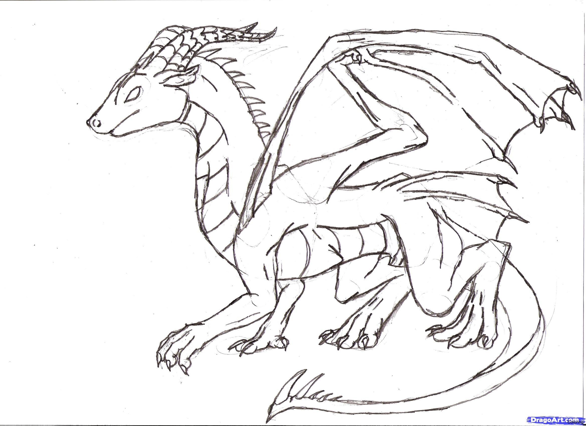 2338x1700 How To Draw Easy Dragons Step A Dragon Drawings By Coloring 17f