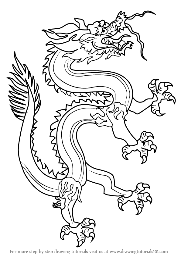 596x843 Learn How To Draw A Chinese Dragon (Dragons) Step By Step