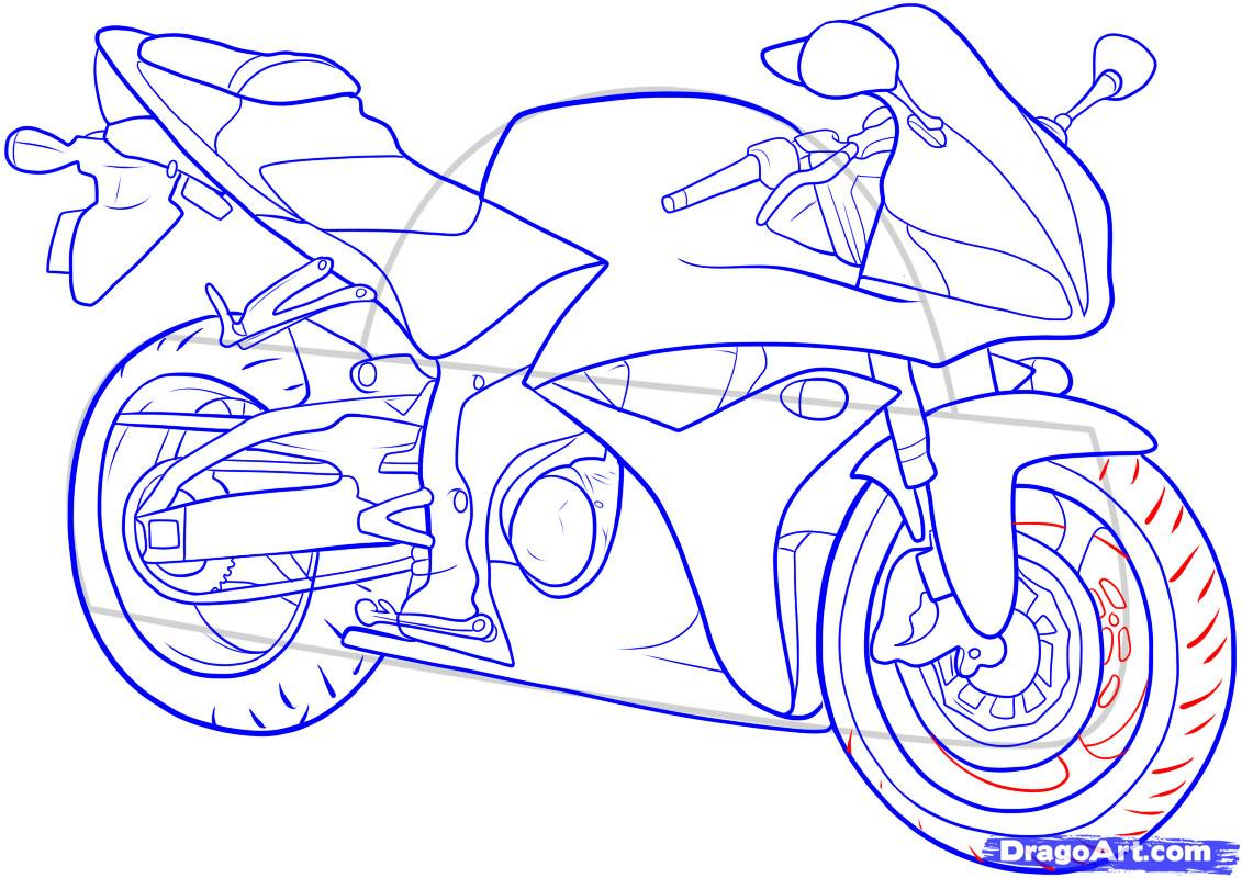 1131x800 How To Draw The Motorcycle Step By Step