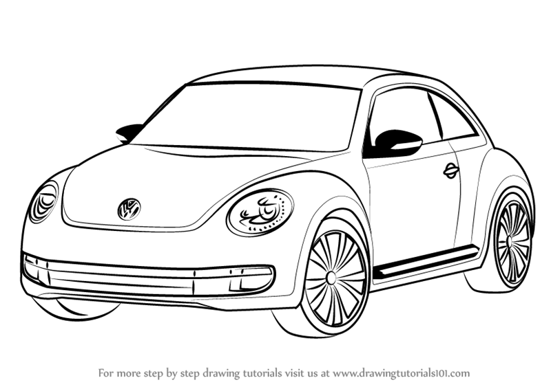 800x566 Learn How To Draw Volkswagen Beetle (Cars) Step By Step Drawing