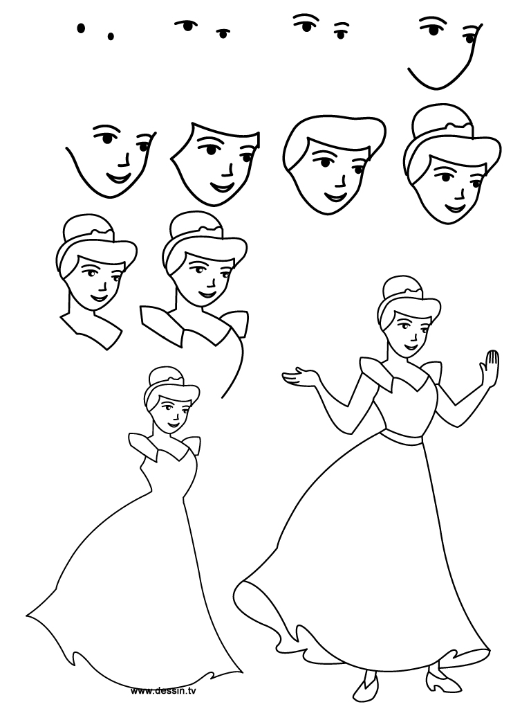 768x1024 Easy Cinderella Princess Drawing Step By Step Free Download
