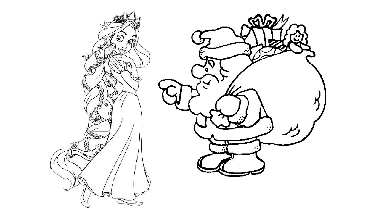 1280x720 Disney Princess Rapunzel And Santa Claus Coloring Pages For Kids