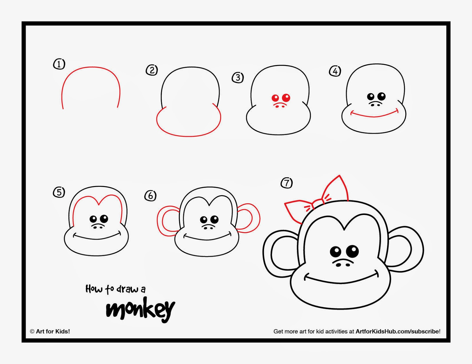 1600x1236 Monkey Step By Step Drawing