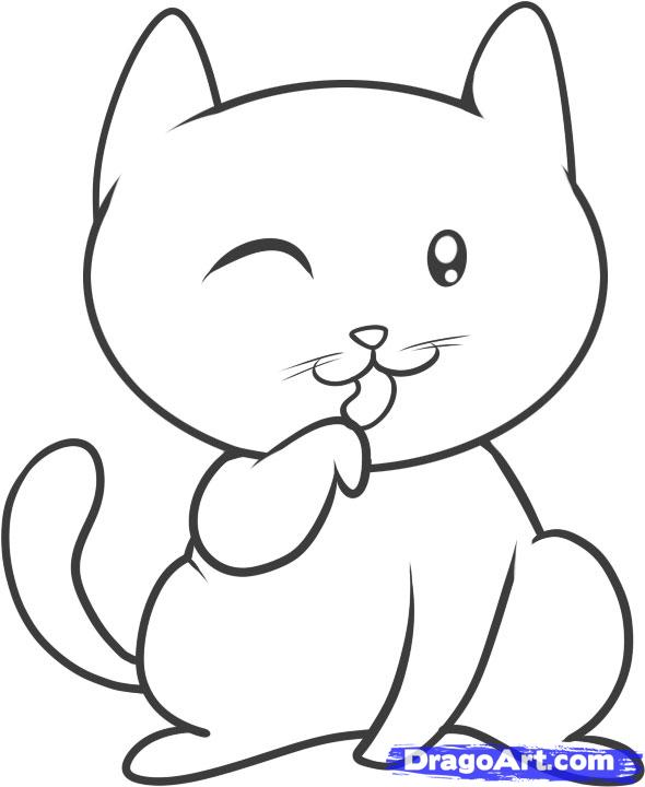590x720 How To Draw A Cat For Kids Step 8 Drawings Drawing