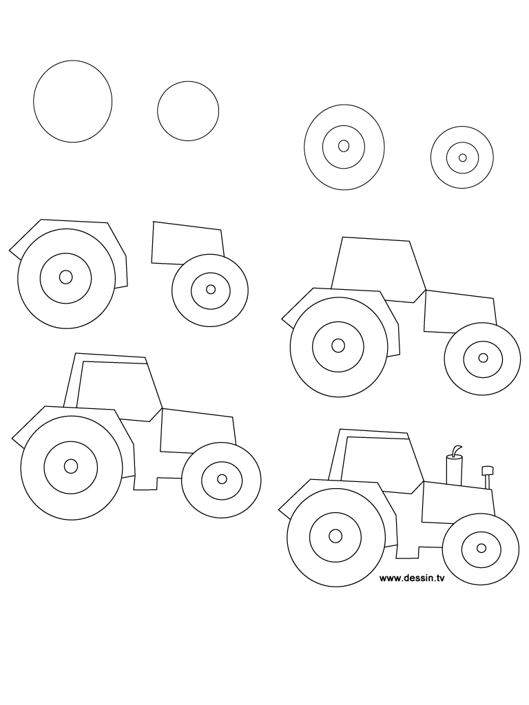 768x1024 Drawing Tractor