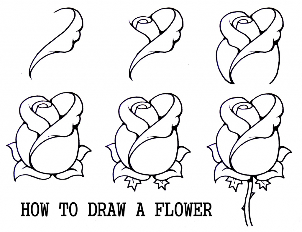 1024x788 Easy Drawings For Kids Flowers Step By Step How To Draw