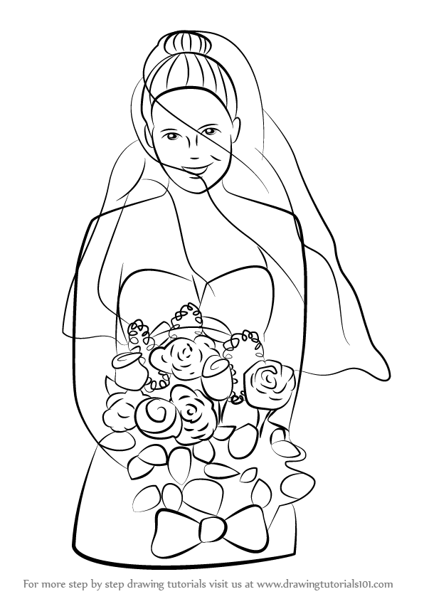596x842 Learn How To Draw A Bride With Flowers (Girls) Step By Step