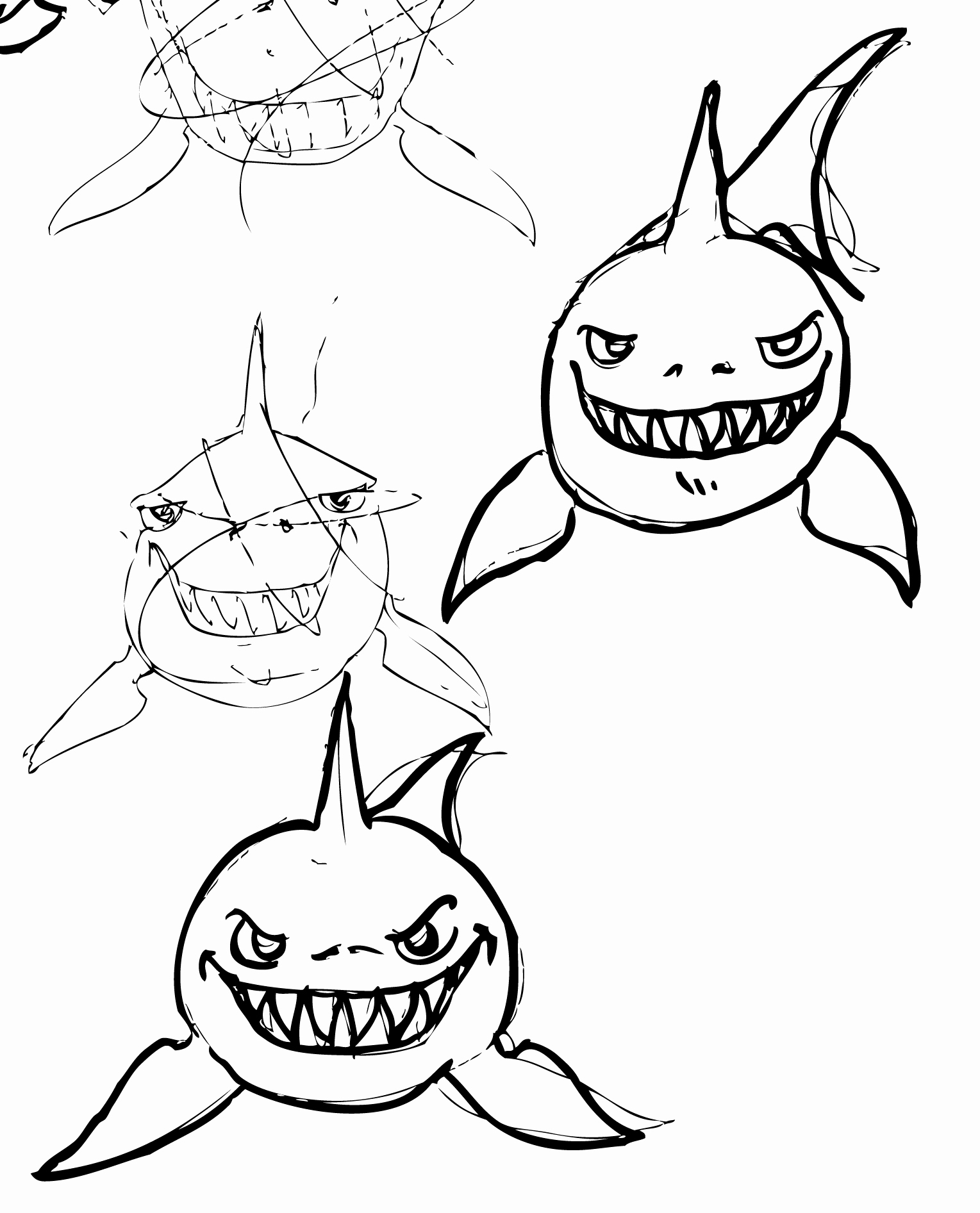 Step By Step Shark Drawing