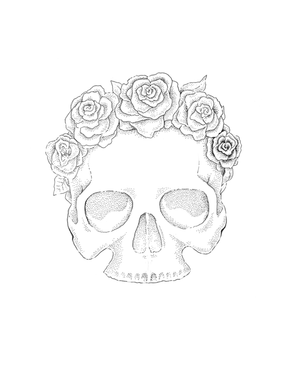 How To Draw A Skull With A Rose Step By Step