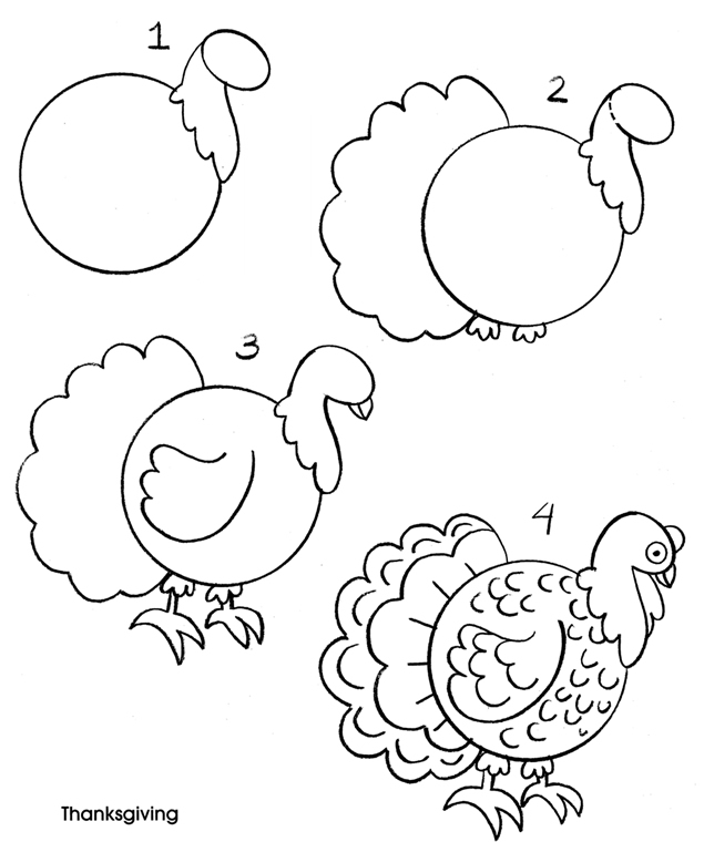 635x760 Turkey Drawing An Owl Draw An Owl Draw A Parrot Draw A Peacock