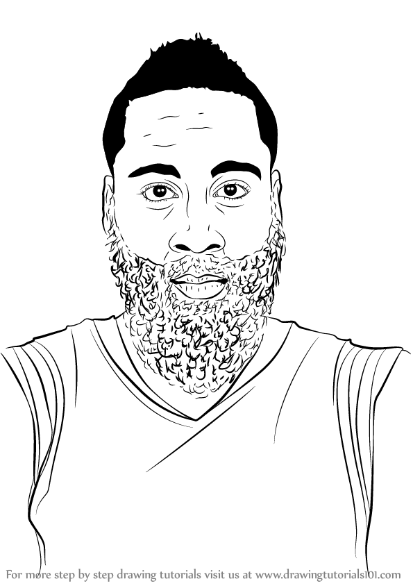 595x844 Learn How To Draw James Harden (Basketball Players) Step By Step