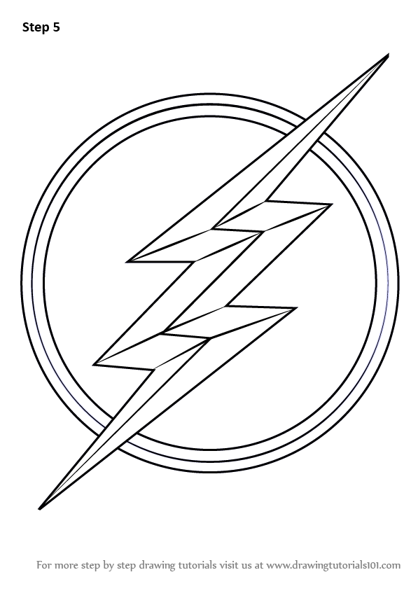 597x844 Learn How To Draw The Flash Symbol (The Flash) Step By Step