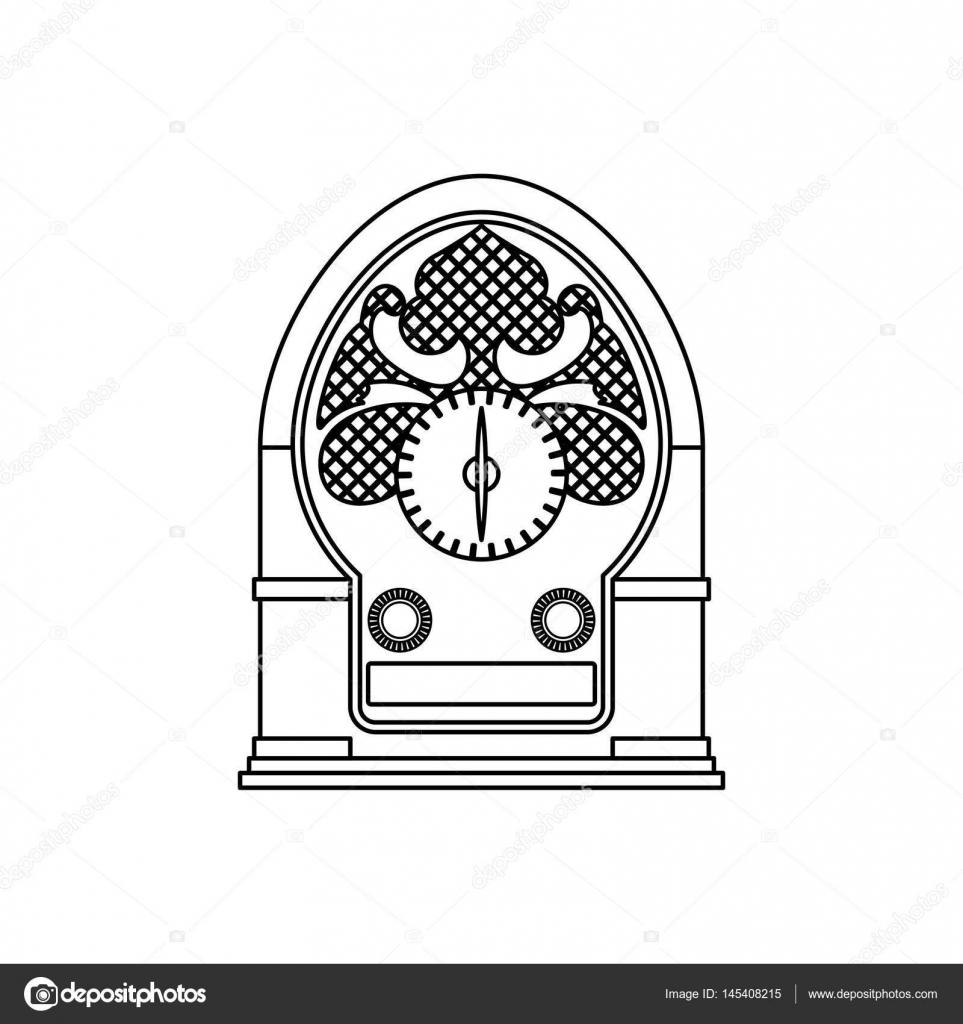 963x1024 Antique Radio Stereo Stock Vector Djv