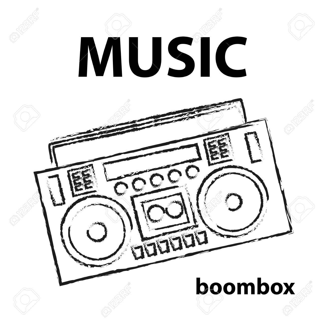 1300x1300 Boombox Vector Drawing Illustration Retro Sketch Art Royalty Free