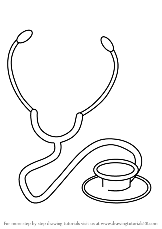 567x800 Learn How To Draw Stethoscope (Everyday Objects) Step By Step