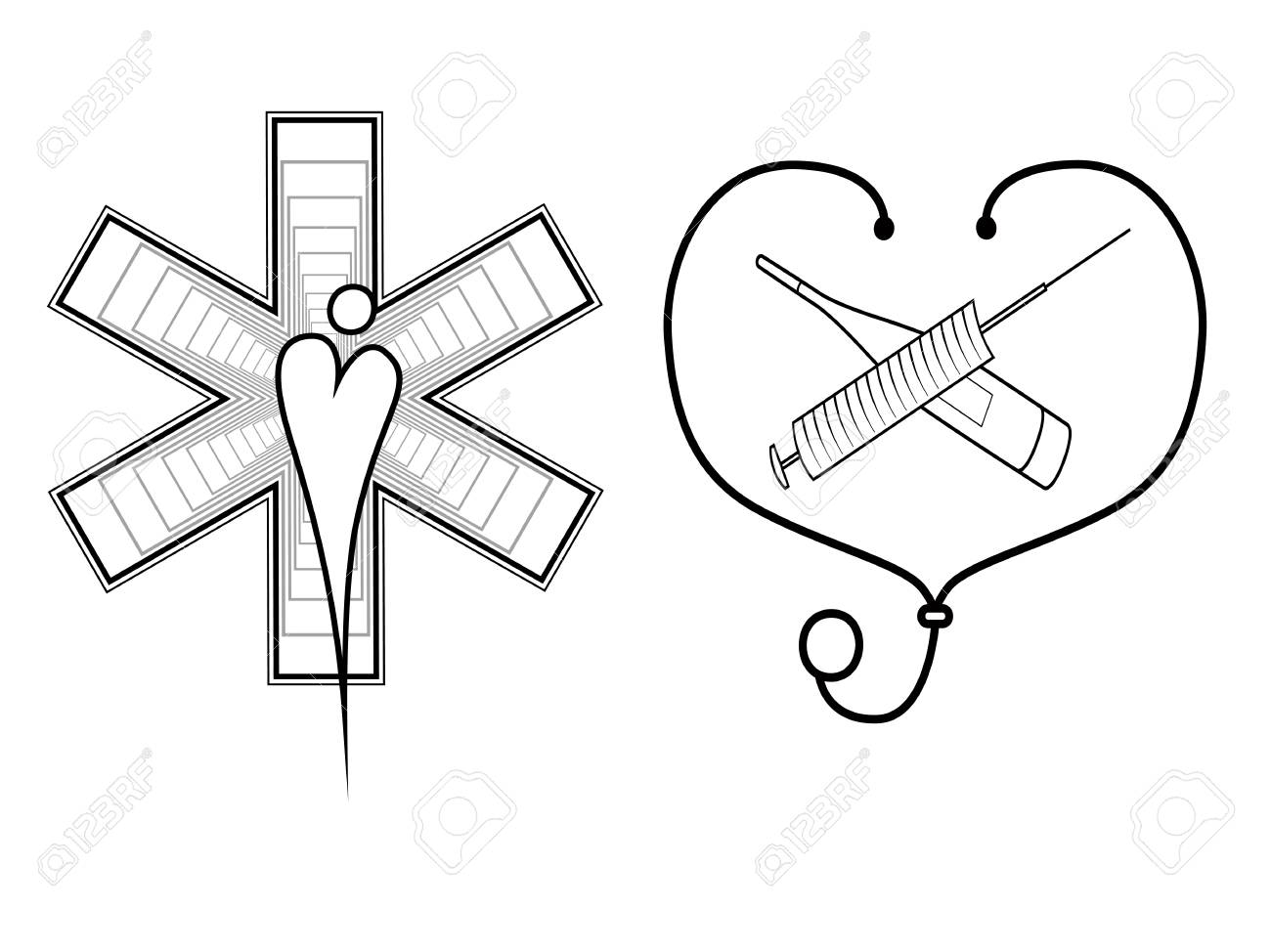 1300x974 Set Of Two Logos For Medical Doctors First Aid With A Medical