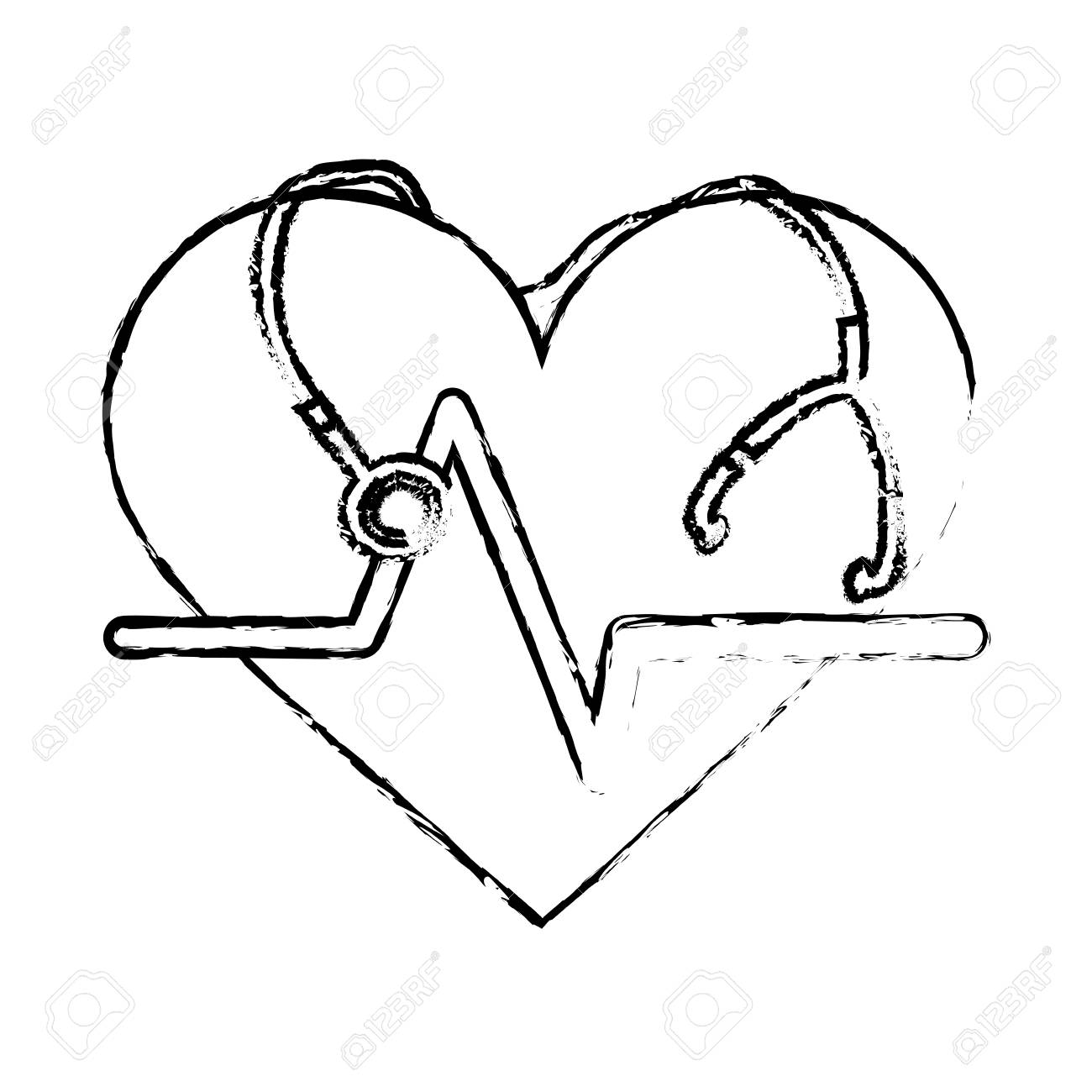 1300x1300 Cardio Heart With Stethoscope Icon Over White Background. Vector