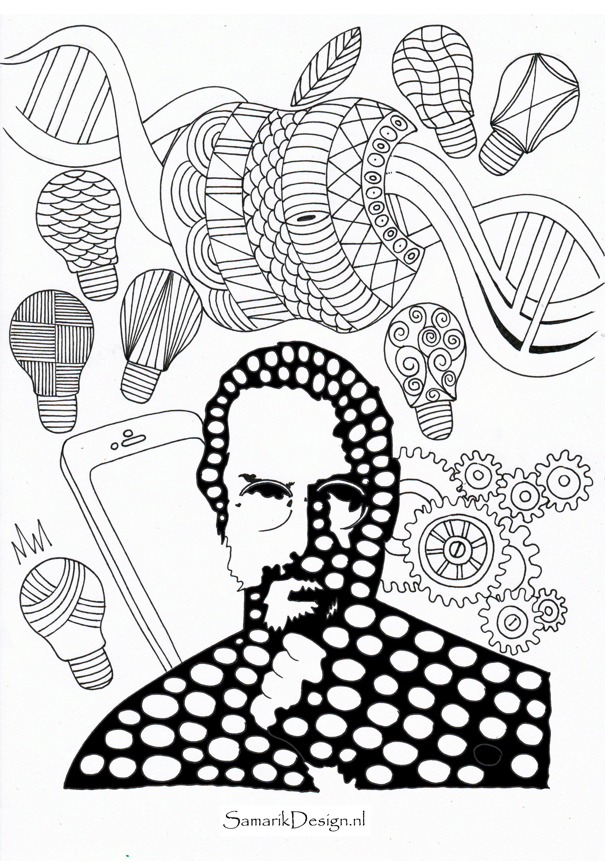 2460x3504 Steve Jobs Famous People Coloring Pages To Print