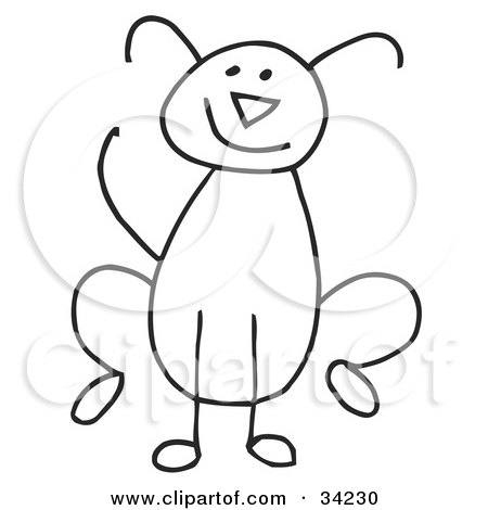 450x470 Clipart Illustration Of A Happy Stick Dog By C Charley Franzwa
