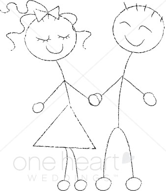 338x388 Stick Figure Couple Clipart Cartoon Wedding Clipart
