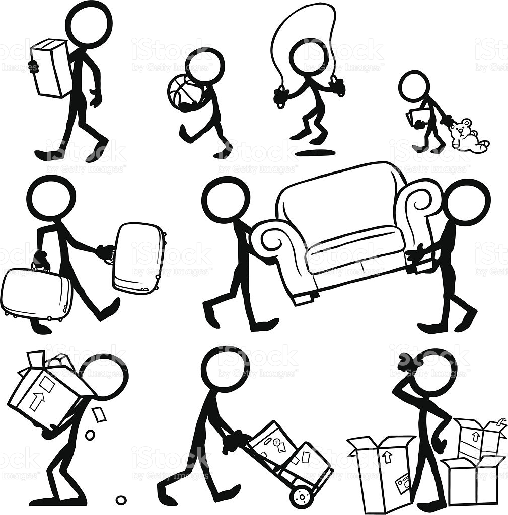 1009x1024 Stickfigures Moving Furniture, Moving Boxes, Suitcases. Moving